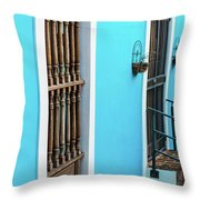 Old San Juan House In Historic Street In Puerto Rico Throw Pillow