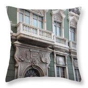 Old San Juan Puerto Rico Downtown Green Throw Pillow