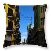 Old San Juan Puerto Rico Downtown On The Corner Throw Pillow