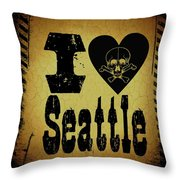 Old Seattle Throw Pillow