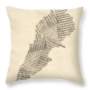 Old Sheet Music Map Of Lebanon Throw Pillow