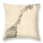 Old Sheet Music Map Of Norway Throw Pillow