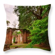 Old Sheldon Church Ruins 3 Throw Pillow