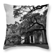Old Sheldon Church Ruins Black And White 3 Throw Pillow