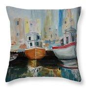 Old Ships At Dock Throw Pillow