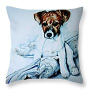 Old Shoe Pup Throw Pillow