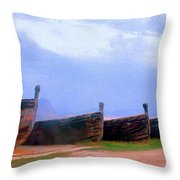 Old Sicilian Fishing Boats Throw Pillow