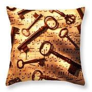 Old Skeleton Keys On Sheet Music Throw Pillow by Garry Gay