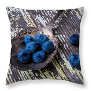 Old Spoon And Blueberries Throw Pillow