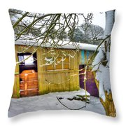 Old Stable - Silent Winter Throw Pillow