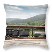 Old Steam Locomotive On Railway Station Throw Pillow