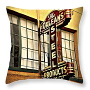 Old Steel Neon Sign Throw Pillow
