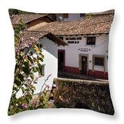 Old Stone Bridge In Historic Hillside Village Of San Sebastian D Throw Pillow