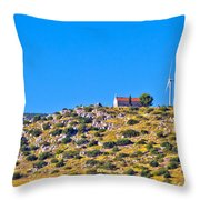 Old Stone Church And Green Energy Plant Throw Pillow