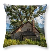 Old Stone Ranch Structure Throw Pillow