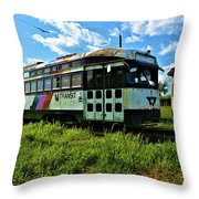 Old Street Car In Upstate New York Throw Pillow