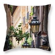 Old Street Light In Barcelona, Spain Throw Pillow