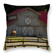 Old-style Horse Barn Throw Pillow