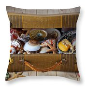 Old Suitcase Full Of Sea Shells Throw Pillow by Garry Gay