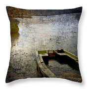 Old Sunken Boat. Throw Pillow by Bernard Jaubert