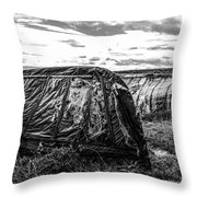 Old Tarred Boat On Holy Island 2 Throw Pillow