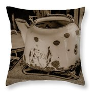 Old Tea Kettle In A Miner's Cabin Throw Pillow