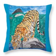 Old Tiger Drinking Throw Pillow