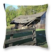 Old Tilted Barn Indiana Throw Pillow