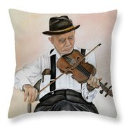 Old Time Fiddler Throw Pillow