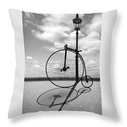 Old Times - Penny Farthing With Street Lamp And Shadows Throw Pillow