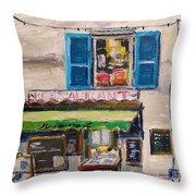 Old Town Cafe Throw Pillow