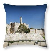 Old Town Citadel Walls Of Jerusalem Israel Throw Pillow