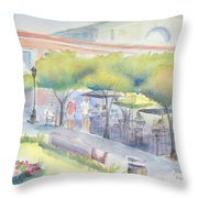 Old Town Mazatlan Square Where The Musicians Play, People Eat And Play. Throw Pillow