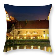 Old Town Of Ptuj Evening Riverfront View Throw Pillow