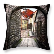 Old Town Oil Paining Throw Pillow