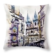 Old Town Square In Prague Throw Pillow
