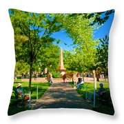 Old Town Square Santa Fe Throw Pillow