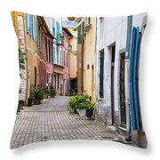 Old Town Street In Villefranche-sur-mer Throw Pillow