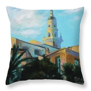 Old Town Tower In Menton Throw Pillow