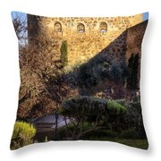 Old Town Walls Toledo Spain Throw Pillow by Joan Carroll