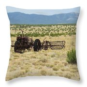 Old Tractor And Rake In New Mexico Throw Pillow