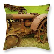 Old Tractor Graveyard Throw Pillow