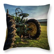 Old Tractor In The Field Outside Of Keene Nh Throw Pillow by Edward Fielding
