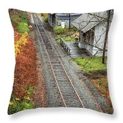 Old Train Station Norwich Vermont Throw Pillow