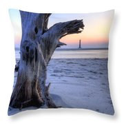 Old Tree And Morris Island Lighthouse Sunrise Throw Pillow