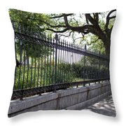 Old Tree And Ornate Fence Throw Pillow