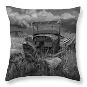 Old Truck Abandoned In The Grass In Black And White At The Ghost Town By Okaton South Dakota Throw Pillow