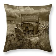 Old Truck Abandoned In The Grass In Sepia Tone Throw Pillow