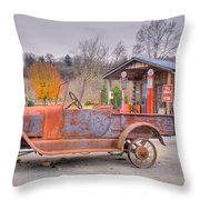 Old Truck And Gas Filling Station Throw Pillow