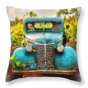 Old Truck At The Winery Throw Pillow